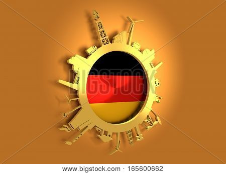 Circle with industry relative silhouettes. Objects located around the circle. Industrial design background. Germany flag in the center. Golden material. 3D rendering