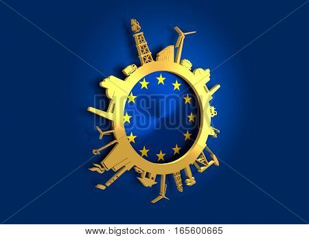 Circle with industry relative silhouettes. Objects located around the circle. Industrial design background. Europe flag in the center. Golden material. 3D rendering