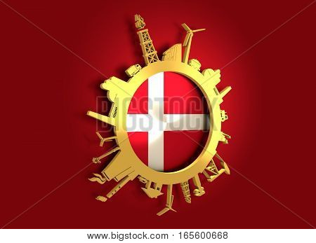 Circle with industry relative silhouettes. Objects located around the circle. Industrial design background. Denmark flag in the center. Golden material. 3D rendering