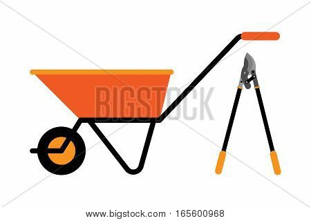 Garden metal wheelbarrow isolated on white. Single cart human tool metallic worker. Gardening metal empty tire construction manual industry equipment.