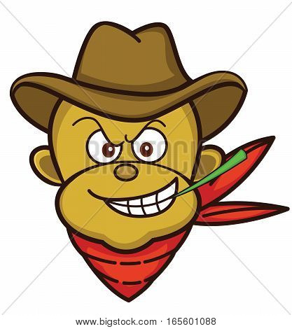 Monkey Cowboy Head Cartoon Illustration Isolated on White