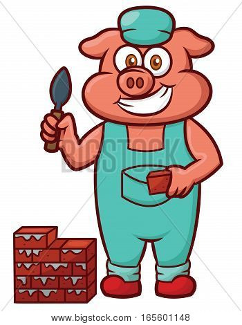 Pig Bricklayer Worker Working with Bricks and Trowel Cartoon Illustration