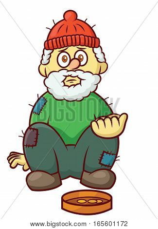 Poor Beggar Asking For Money Cartoon Illustration Isolated on White