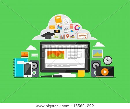 E-learning Online learning education concept. Modern flat design for Web Banner, Website Element, or Web Template
