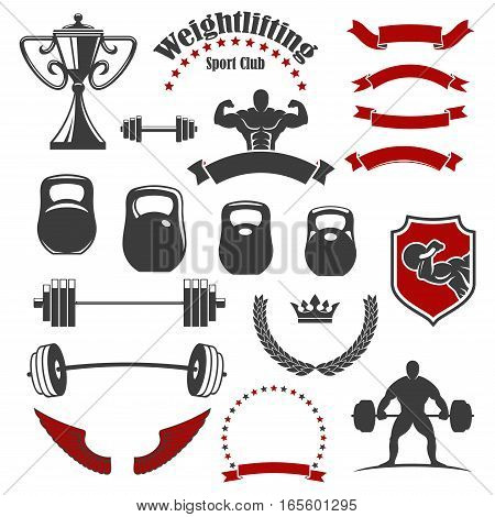 Weightlifting icons. Vector isolated weightlifter athlete muscle torso, iron barbell with weight dumbbell. Ribbon banners, wings and winner cup award, wreath of stars, crown shield symbols for gym, fitness, crossfit emblem, badge or sign