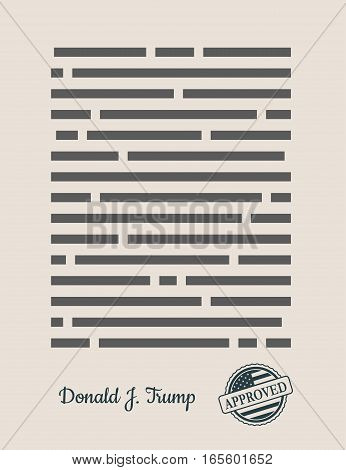 USA - January 16, 2017: A vector illustration of a Approved Paper Document with stamp and US President Donald Trump signature. Approved text