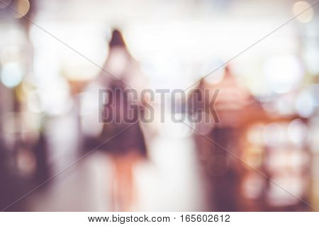 Blurred Background : Vintage Filter ,customer In Coffee Shop Blur Background With Bokeh