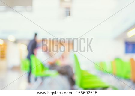 Blur Background : Business Man Reading Newpaper In Building.