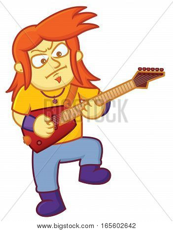Rock Guitarist Playing Electric Guitar Cartoon Illustration Isolated on White