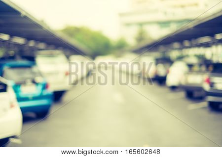 Blur Background : Outdoor Car Park Lot With Bokeh