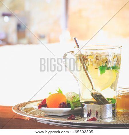 Chamomile Tea Near Jacuzzi. Valentines Background. Romance Concept. Health Concept