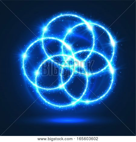 Flashes lights and sparkles effect. Abstract light circles of shining blue neon glittering sparks. Magic glowing of circular star rays and beams glitter particles