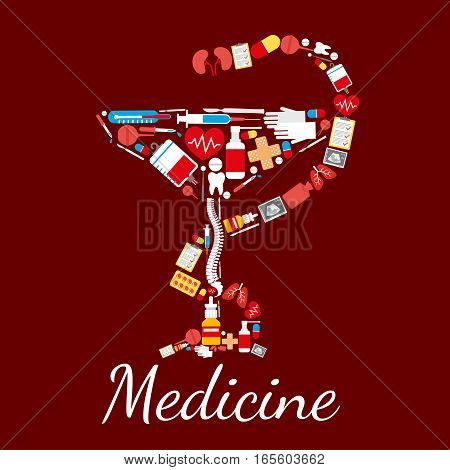 Bowl of Hygieia medical and pharmacy symbol of snake twined around bowl. Medicine poster of vector drugs and pills capsules, human spine, kidney and lungs with hear, medical thermometer with surgery scalpel, ultrasonography, blood dropper and tooth