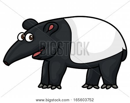 Tapir Cartoon Animal Character Isolated on White
