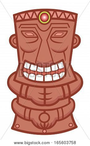 Tiki Totem Statue Cartoon Illustration Isolated on White