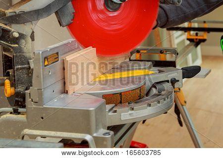 Carpenter Workplace Man Using Circular Saw To Cut Wood