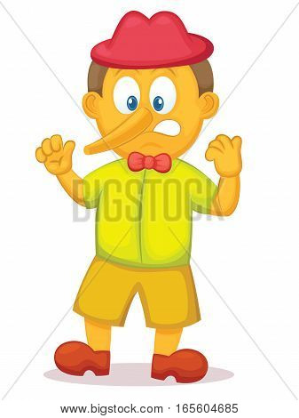 Funny Pinocchio with Long Nose Cartoon Character. Vector Illustration.