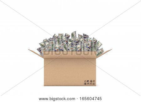 3d rendering of an open carton box with many 100 dollar bills sticking out on white background. Wealth and success. Earnings and money. Bills and coins.