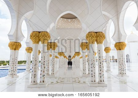 Abu Dhabi, UAE - Jan 30: Magnificent interior of Sheikh Zayed Grand Mosque on January 30th 2016 in Abu Dhabi, United Arab Emirates. It is largest mosque in UAE and the eighth largest mosque in world.