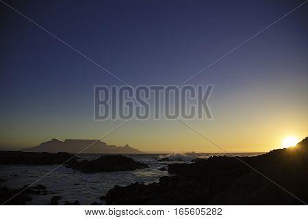 Table Mountain alongside a beautiful Blouberg Sunset