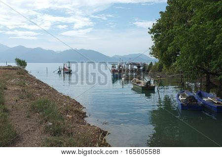Colorful fishing boat in Ferry Koh Chang (Mainland Pier)  Laem Ngop , Province Trat , Thailand