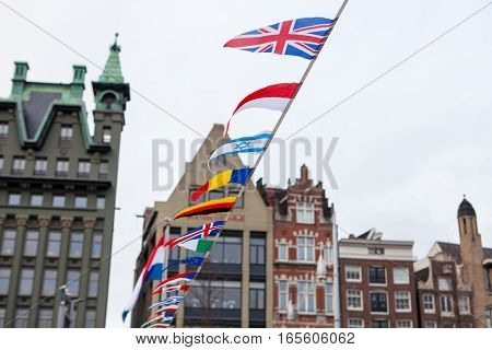 flags of different countries in the Netherlands