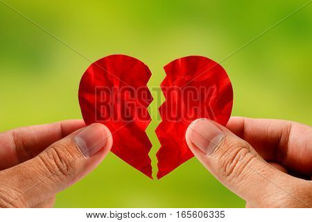 hand holding a red paper broken heart for divorce or reconcile with nature background
