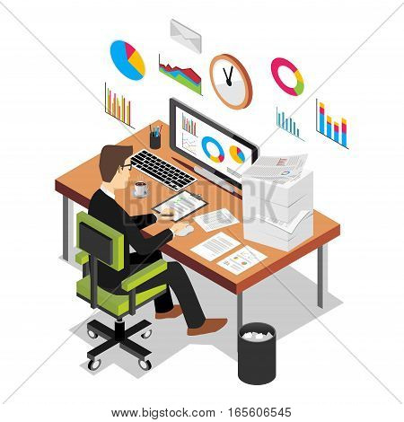 Business person working on computer. Business analyst business growth concept. Modern isometric illustration for Web Banner Website Element Brochures or Book cover.
