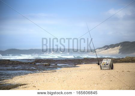 Fishing Cart on the beach with rod and reel