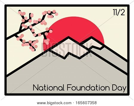 Vector illustration of Japan National Foundation Day. 11 February.