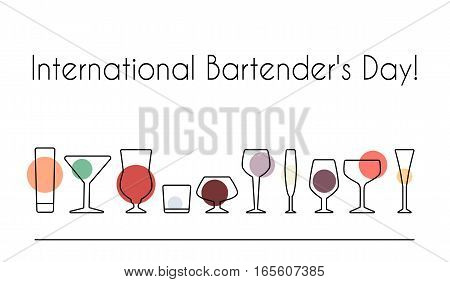 Vector illustration of International Bartender's Day for your design. Stemware outline set.