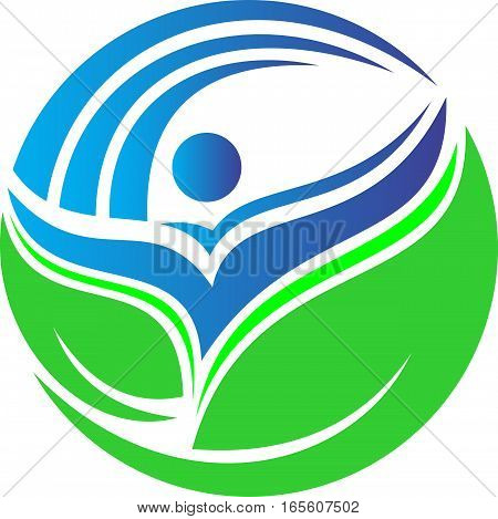logo illustration human resources circular green nature