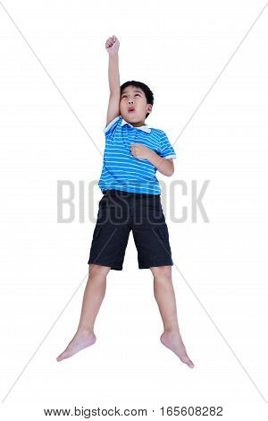 Top View Of Happy Asian Child Look Like Flying Superhero, Isolated On White.