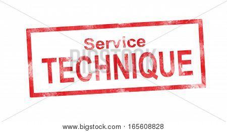 Technical Department In French Translation In Red Rectangular Stamp