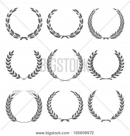 Vector award wreaths, laurel on black background illustration
