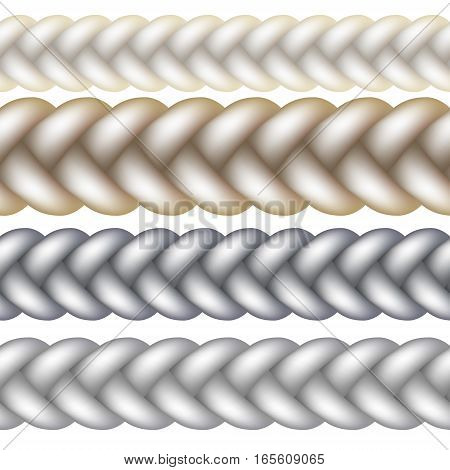 Seamless Woven Braid Vector illustration Isolated on white background