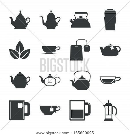 Tea Icons Set on White Background. Vector illustration
