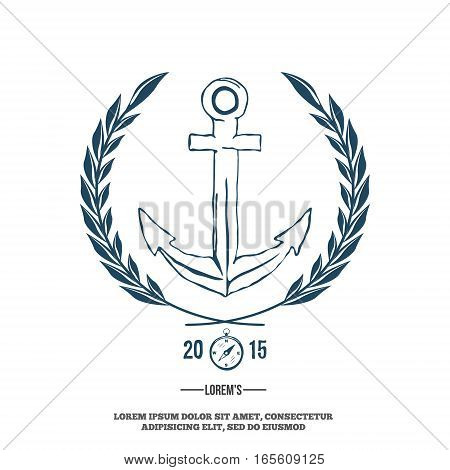 Anchor with laurel. Design elements. T-shirt print Vector illustration