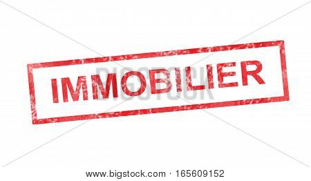 Immovable In French Translation In Red Rectangular Stamp