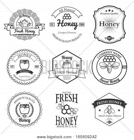 Vintage frame with Honey label set template vector illustration