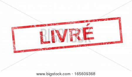 Delivered In French Translation In Red Rectangular Stamp