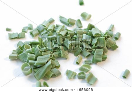 Chives Spilled On White Background