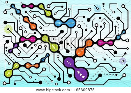Circuit communication technology background. Digital techno modern concept. Abstract connection colorful metaball. High computer futuristic background. Vector illustration eps 10.