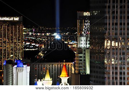 VEGAS NEVADA USA - January 11th 2016: Vegas at night with luxor sky beam Mandalay Bay Excalibur Delano