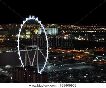 VEGAS NEVADA USA - January 11th 2016: High Roller at night and Vegas view