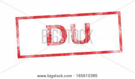 DU acronym in a red rectangular stamp