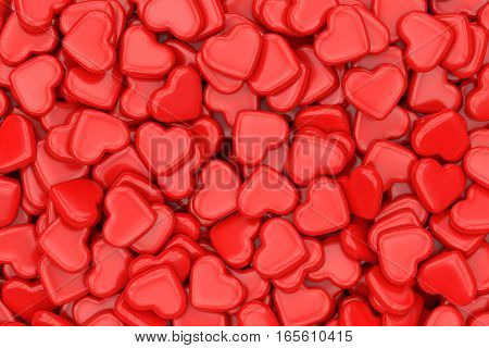 Valentine's Day love and relationship concept. Red heart shapes background. 3D illustration