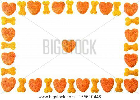 Dog Food Frame Or Border On White Background,cookies  With Copy Space(i Love)