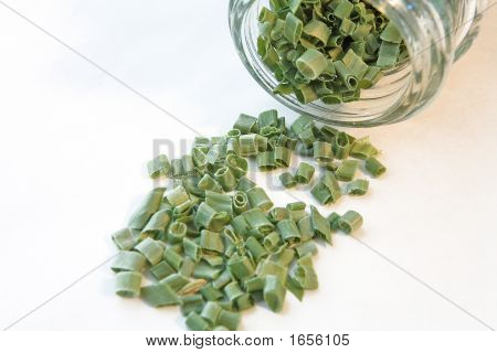 Chives Spilled From Spice Bottle
