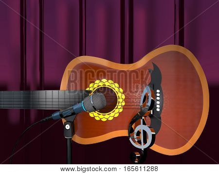 Acoustic six-string guitar clef and microphone on a purple curtain background (3d illustration).